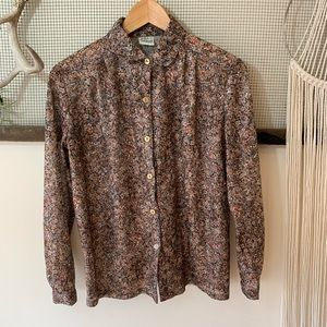 Vintage Sheer Floral Button Down Blouse